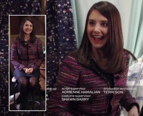 Annie's purple/pink tweed style jacket on Community