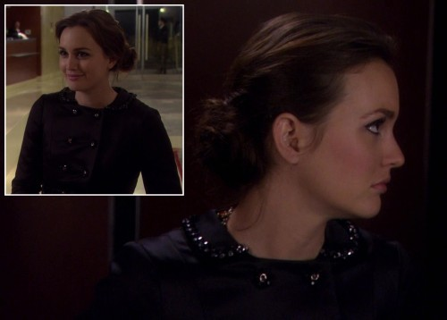 Blair's black embellished coat on Gossip Girl