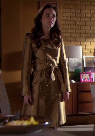 Blair's gold trench coat on Gossip Girl