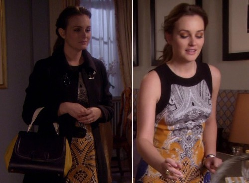 Blair's yellow patterned dress with black/yellow handbag on Gossip Girl