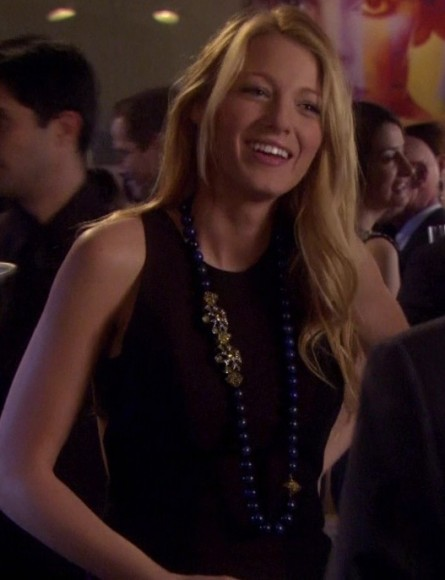 Serena's black dress with blue bead necklace on Gossip Girl