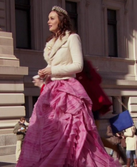 Blair's pink gown with cream fur collar blazer on Gossip Girl
