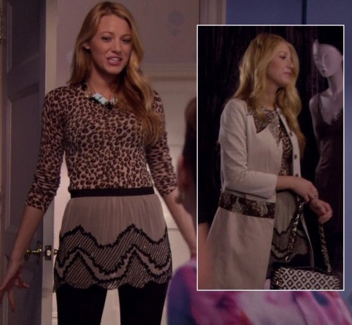 Serena's leopard print top with beaded skirt on Gossip Girl