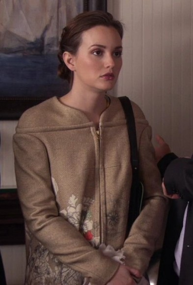 Blair's cream coat with flowers on Gossip Girl
