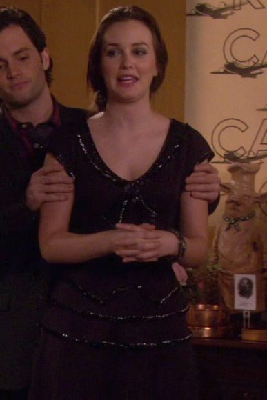 Blair's black short sleeve beaded dress on Gossip Girl