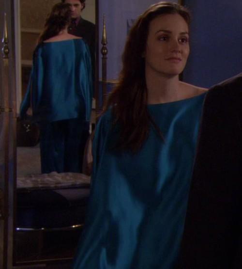 Blair's blue satin pajamas on Gossip Girl