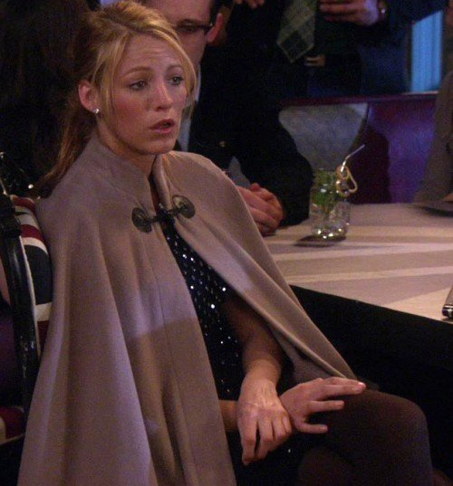Serena's beige cape on Gossip Girl
