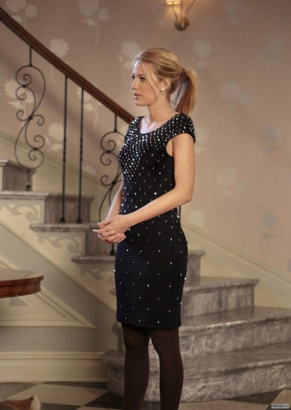 Serena's black jeweled dress on Gossip Girl