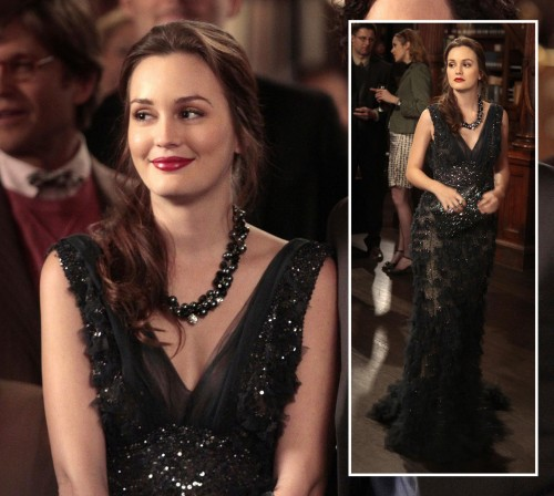 Blair's black beaded v-neck gown on Gossip Girl