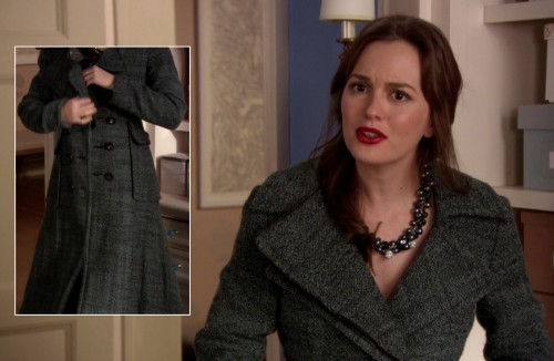 Blair's grey tweed trench coat on Gossip Girl