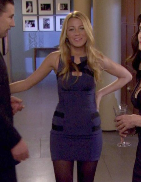 Serena's blue and black bodycon cutout dress on Gossip Girl