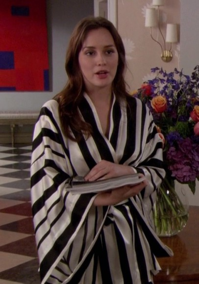 Blair's black and white striped robe on Gossip Girl