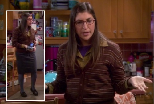 Amy's brown striped cardigan, grey skirt and tights with loafers on The Big Bang Theory