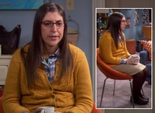Amy's yellow knit cardigan with brown tights on The Big Bang Theory