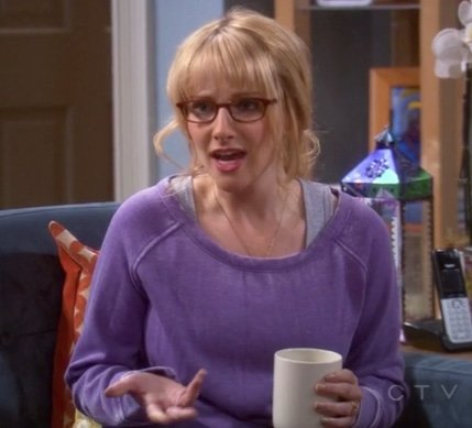 Bernadette's purple sweater on The Big Bang Theory