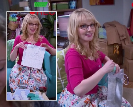 Bernadette's white floral dress with pink cardigan on The Big Bang Theory