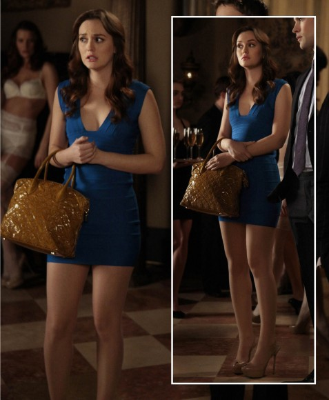 Blair's tight blue bodycon dress on on Gossip Girl