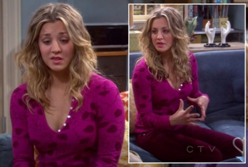 Penny's pink longsleeve top with red pants on The Big Bang Theory
