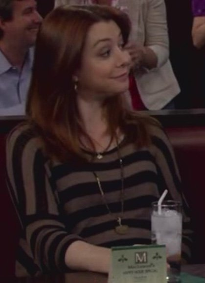 Lily's brown and black striped maternity top on How I Met Your Mother