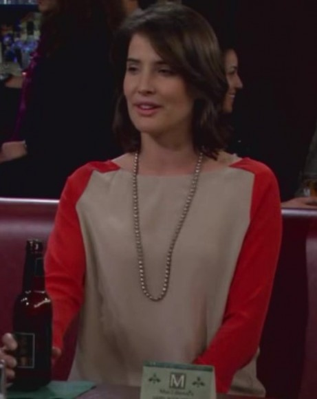 Robin's cream and red color block top on How I Met Your Mother