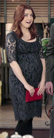 Lily's lace maternity dress on How I Met Your Mother