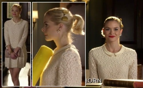 Lemon's cream lace top worn with matching skirt and gold hair bow on Hart of Dixie