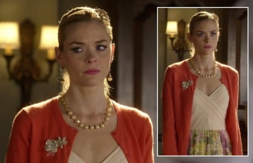 Lemon's orange cardigan with gold flower brooch on Hart of Dixie