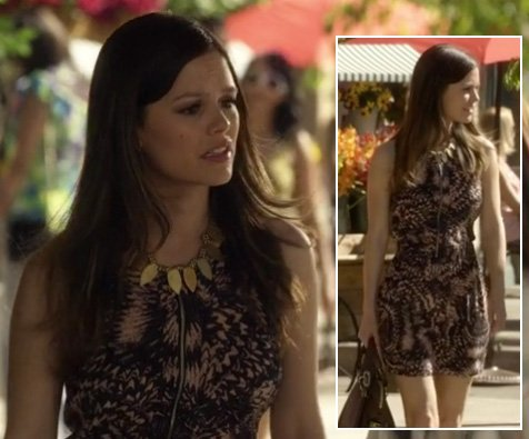 Zoe's patterned mini dress with gold necklace on Hart of Dixie