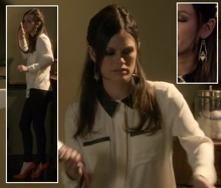 Zoe's white longsleeve blouse with black leather collar and pockets worn with red pumps on Hart of Dixie