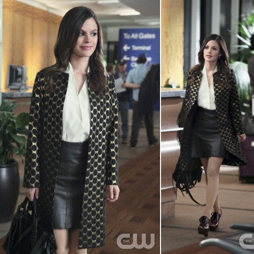 Zoe's black and gold polka dot coat and black leather skirt on Hart of Dixie