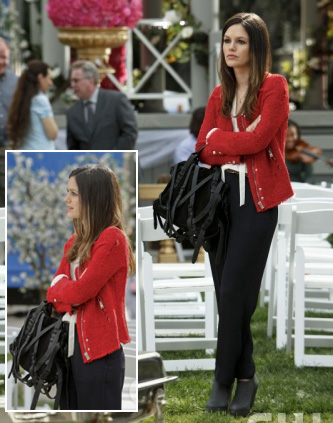 Zoe's red blazer, strappy handbag and black booties
