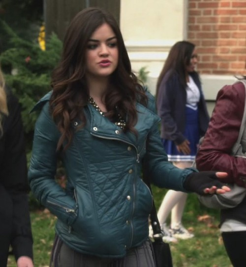 Aria's blue quilted jacket on Pretty Little Liars