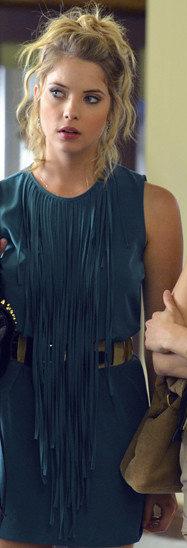 Hanna's teal blue fringe/tassle dress on Pretty Little Liars