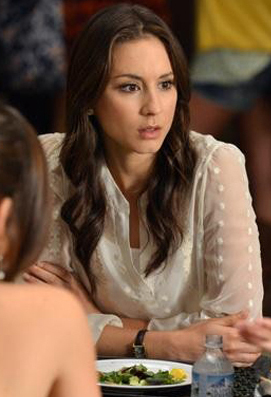 Spencer's sheer white polka dot top on Pretty Little Liars