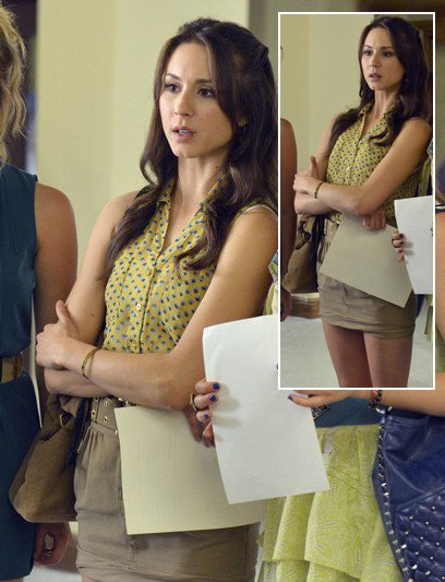 Spencer's yellow and blue patterned top on Pretty Little Liars