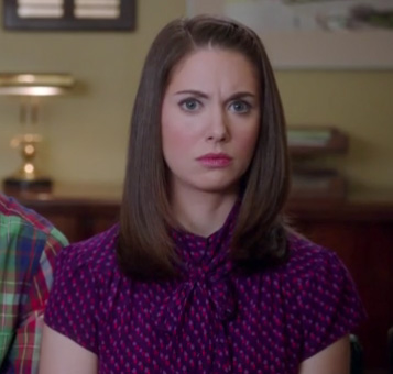 Annie's purple/magenta pussybow blouse on Community
