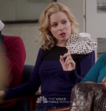 Britta's navy blue and black colorblock shirt on Community