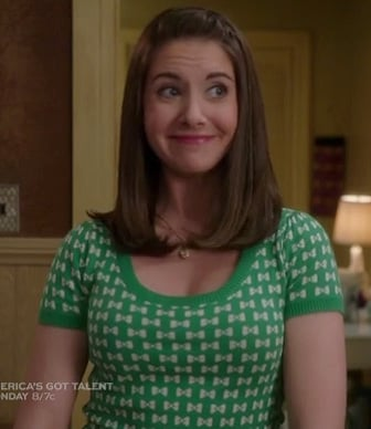 Annie's green bow print top on Community
