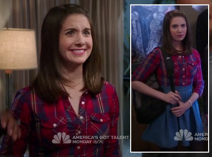 Annie's red plaid top with a denim/chambray skirt on Community