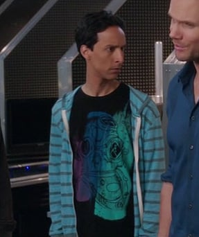 Abed's black shirt and blue striped hoodie on Community