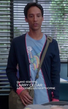 Abed's light blue rainbow graphic shirt and navy/pink cardigan on Community