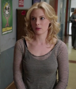 Britta's sheer black and white striped top on Community