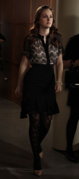 Blairs black lace tights and dress on Gossip Girl