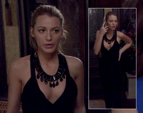 Serena's black dress and necklace on Gossip Girl