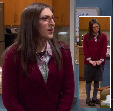 Amy's red cardigan with grey pencil skirt and tights on The Big Bang Theory