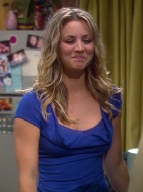 Penny's cobalt blue lace top on The Big Bang Theory