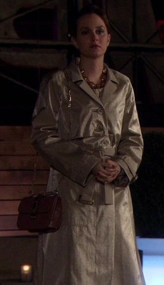 Blair's metallic champagne colored coat and brown bag on Gossip Girl