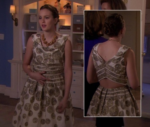 Blairs gold circle pattern dress with cutout back on Gossip Girl