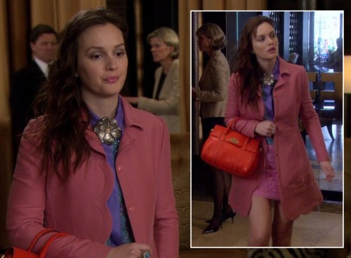 Blair's pink scalloped coat and red handbag on Gossip Girl