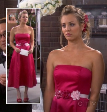 Penny's hot pink bridesmaid dress with flower belt on The Big Bang Theory